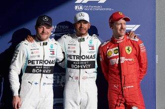 Top three Qualifiers Valtteri Bottas, Mercedes AMG F1, pole man Lewis Hamilton, Mercedes AMG F1, and Sebastian Vettel, Ferrari