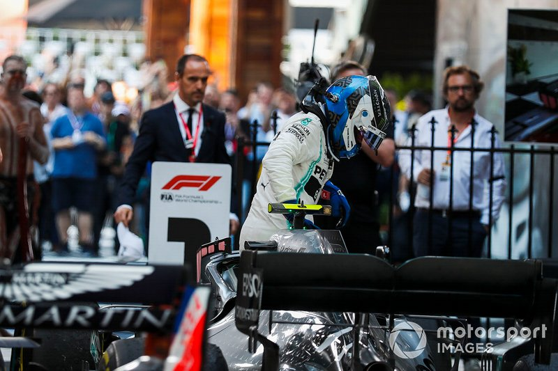 Valtteri Bottas, Mercedes AMG F1, 1st position, climbs out of his car after winning the race