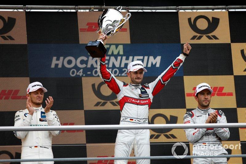 Podio: il vincitore della gara René Rast, Audi Sport Team Rosberg, il secondo classificato Marco Wittmann, BMW Team RMG, il terzo classificato Mike Rockenfeller, Audi Sport Team Phoenix