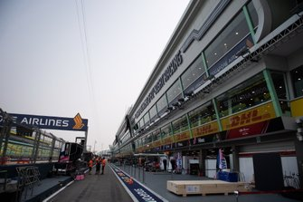 The Racing Point garage in the pit lane
