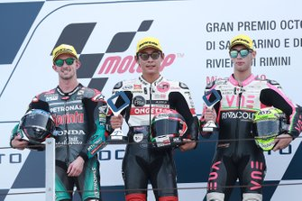Podium: race winner Tatsuki Suzuki, SIC58 Squadra Corse, second place John McPhee, SIC Racing Team, third place Tony Arbolino, Team O