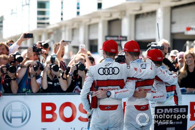 Top 3 na de race, Racewinnaar Jamie Green, Audi Sport Team Rosberg, Robin Frijns, Audi Sport Team Abt Sportsline, René Rast, Audi Sport Team Rosberg