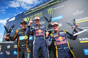 Podium: Winner Timmy Hansen, Team Hansen MJP, second place Anton Marklund, GC Competition, third place Kevin Hansen, Team Hansen MJP
