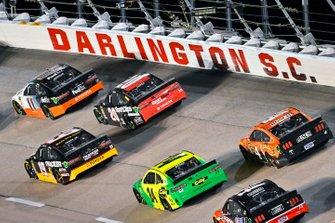 Denny Hamlin, Joe Gibbs Racing, Toyota Camry FedEx Darlington Throwback and Erik Jones, Joe Gibbs Racing, Toyota Camry Sport Clips Throwback