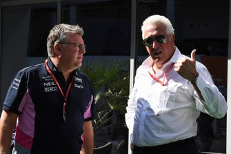 Otmar Szafnauer, Teambaas en CEO, Racing Point, en Lawrence Stroll