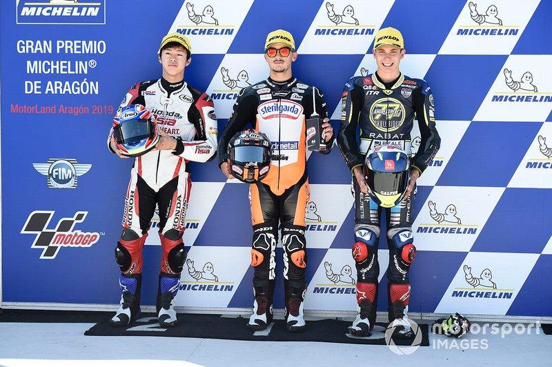 Polesitter Aron Canet, Max Racing Team, secondo classificato Ai Ogura, Honda Team Asia, terzo classificato Carlos Tatay, Fundacion Andreas Perez 77