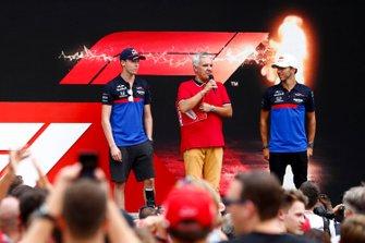 Daniil Kvyat, Toro Rosso and Pierre Gasly, Toro Rosso on stage in the fan zone