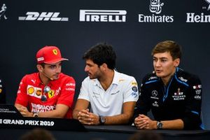 Charles Leclerc, Ferrari, Carlos Sainz Jr., McLaren and George Russell, Williams Racing in the Press Conference