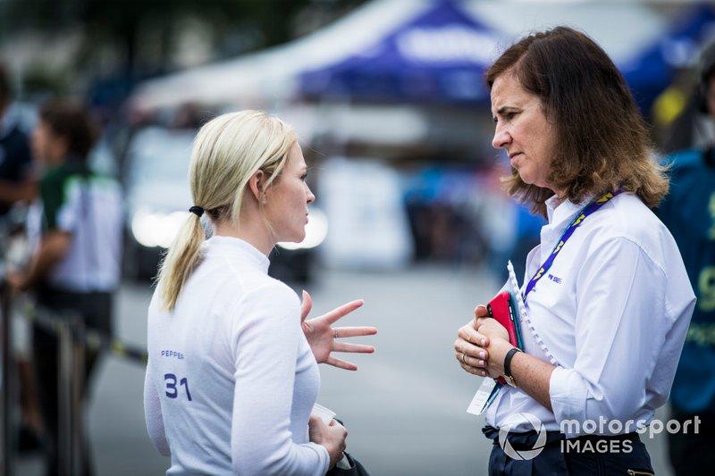 Tasmin Pepper talking to Catherine Bond Muir, CEO