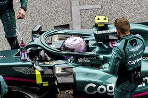 Sebastian Vettel, Aston Martin, en la parrilla