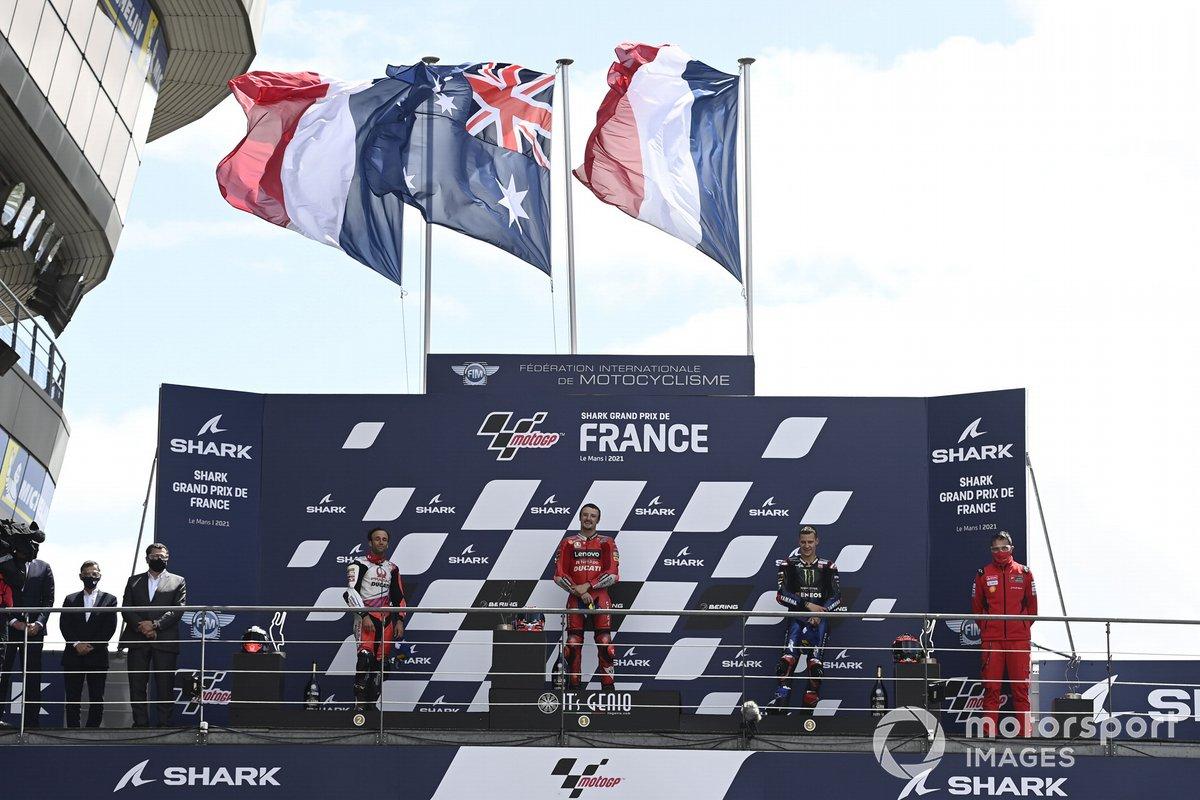 Podio: ganador de la carrera Jack Miller, Ducati, segundo lugar Johann Zarco, Pramac Racing, tercer lugar Fabio Quartararo, Yamaha Factory Racing