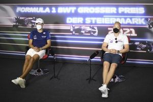 George Russell, Williams and Nikita Mazepin, Haas F1 in the Press Conference