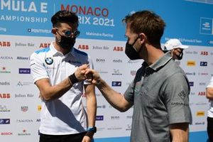 Jake Dennis, BMW i Andretti Motorsport, bumps fists with Rene Rast, Audi Sport ABT Schaeffler