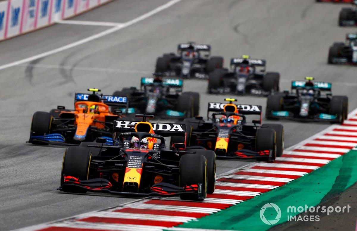 Max Verstappen, Red Bull Racing RB16B, Lando Norris, McLaren MCL35M, Sergio Pérez, Red Bull Racing RB16B, Lewis Hamilton, Mercedes W12, Valtteri Bottas, Mercedes W12
