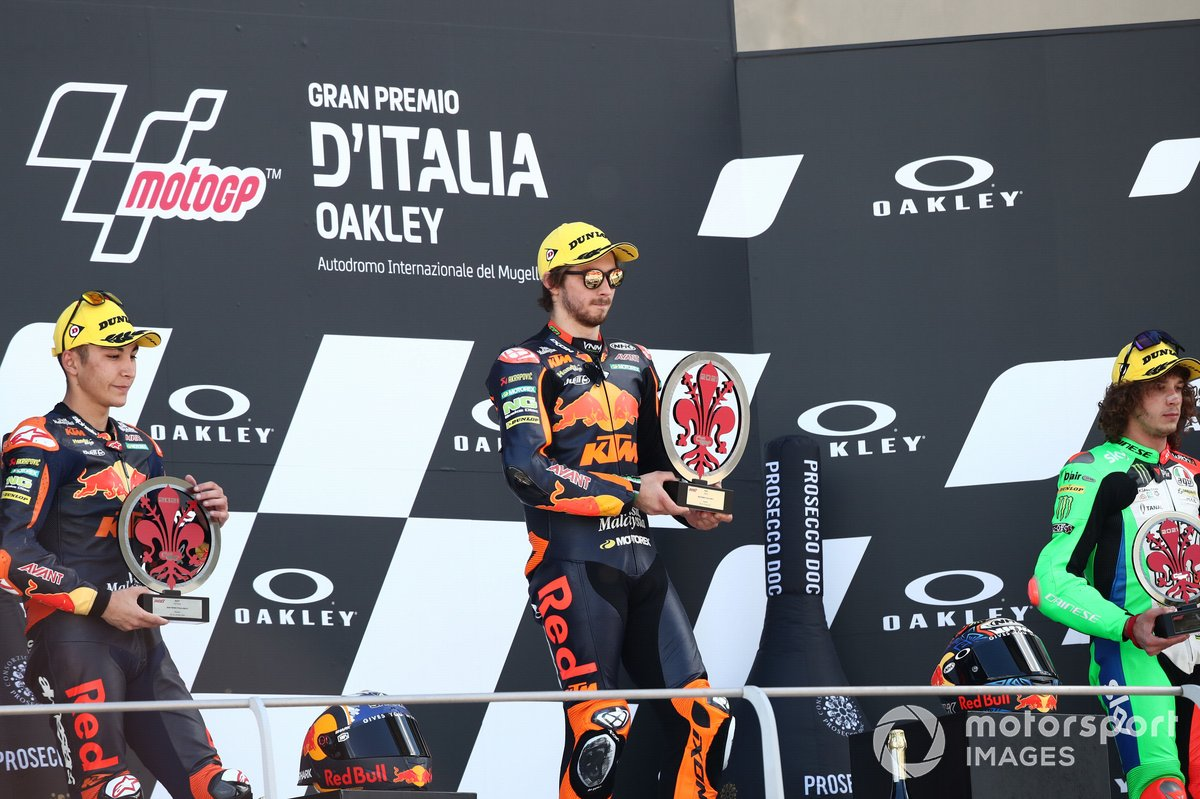 Podio: 1º Remy Gardner, Red Bull KTM Ajo, 2º Raul Fernandez, Red Bull KTM Ajo, 3º Marco Bezzecchi, Sky Racing Team VR46