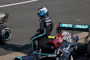 Valtteri Bottas, Mercedes, 3rd position, arrives in Parc Ferme