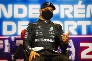 Pole man Valtteri Bottas, Mercedes, in the post Qualifying Press Conference