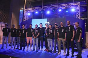 McLaren Shadow Project Middle East Finalists with winner Ebrahim Al Mubarak with McLaren's Ben Payne and Olli Pahkala