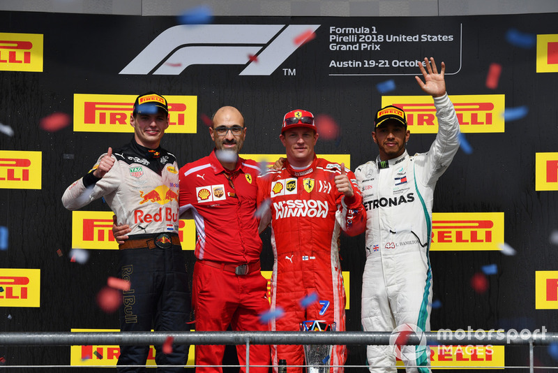 (L to R): Max Verstappen, Red Bull Racing, Carlo Santi, Ferrari Race Engineer, Race Winner Kimi Raikkonen, Ferrari and Lewis Hamilton, Mercedes AMG F1 celebrate on the podium