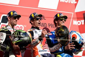 Podium : le vainqueur Marc Marquez, Repsol Honda Team, le deuxième, Cal Crutchlow, Team LCR Honda, le troisième, Alex Rins, Team Suzuki MotoGP