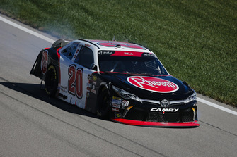 Christopher Bell, Joe Gibbs Racing, Toyota Camry Rheem with crash damage