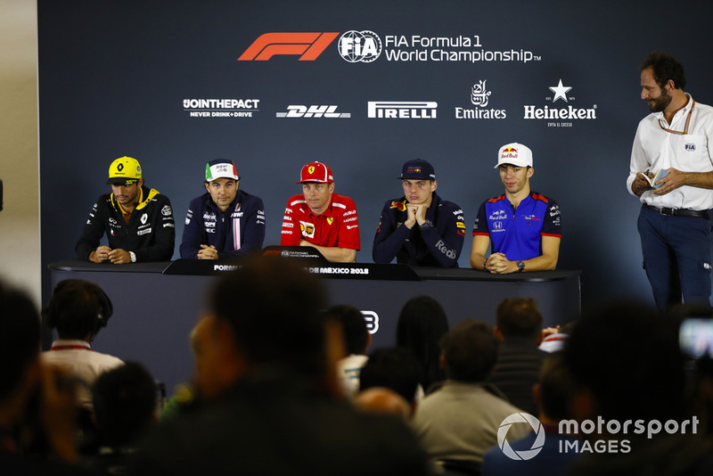 Carlos Sainz Jr., Renault Sport F1 Team, Sergio Perez, Force India, Kimi Raikkonen, Ferrari, Max Verstappen, Red Bull Racing, and Pierre Gasly, Toro Rosso, in the Thursday press conference.