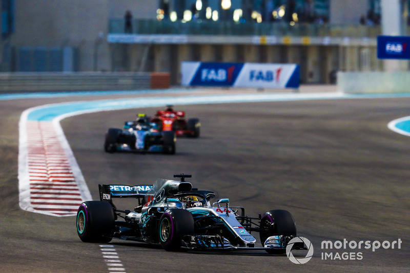 Lewis Hamilton, Mercedes AMG F1 W09 EQ Power+, leads Valtteri Bottas, Mercedes AMG F1 W09 EQ Power+, and Sebastian Vettel, Ferrari SF71H