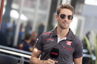 Romain Grosjean, Haas F1 Team talks with the media