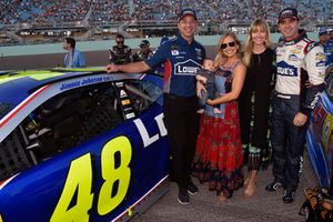 Jimmie Johnson, Hendrick Motorsports, Chevrolet Camaro Lowe's Rookie Throwback and Chad Knaus families