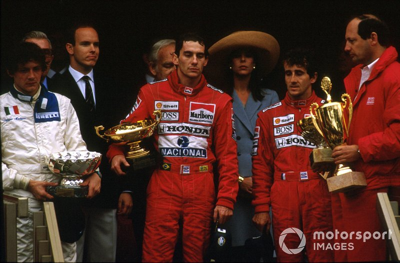 Ayrton Senna, McLaren, Alain Prost, McLaren, Stefano Modena, Brabham, Ron Dennis, McLaren, GP di Monaco del 1989
