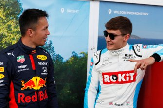 Alex Albon, Red Bull Racing, with George Russell, Williams Racing