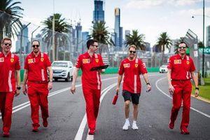 Sebastian Vettel, Ferrari walks the track with members of the team