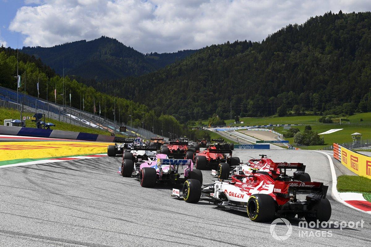 Antonio Giovinazzi, Alfa Romeo Racing C39, Kimi Raikkonen, Alfa Romeo Racing C39, Sergio Pérez, Racing Point RP20