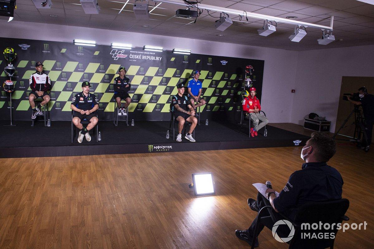 conferencia de prensa Takaaki Nakagami, Team LCR Honda, Maverick Viñales, Yamaha Factory Racing, Valentino Rossi, Yamaha Factory Racing, Fabio Quartararo, Petronas Yamaha SRT, Joan Mir, Team Suzuki MotoGP, Andrea Dovizioso, Ducati Team