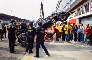Elio de Angelis's Lotus 97T Renault, is lifted