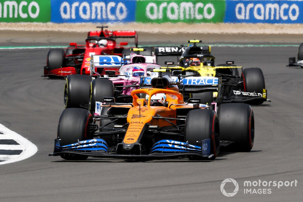 Carlos Sainz Jr., McLaren MCL35, Lance Stroll, Racing Point RP20, Esteban Ocon, Renault F1 Team R.S.20 e Sebastian Vettel, Ferrari SF1000