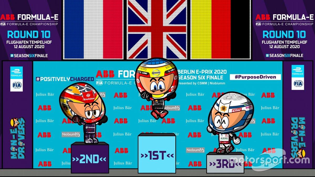Podio de la carrera 5 de Fórmula E en Berlín por los Minis