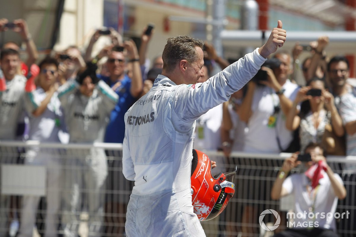 Third place Michael Schumacher, Mercedes AMG F1 W03 in parc ferme