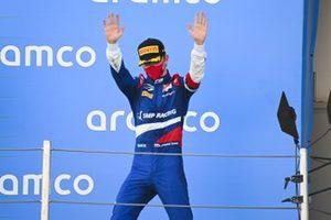 Robert Shwartzman, Prema Racing, 2nd position, arrives on the podium