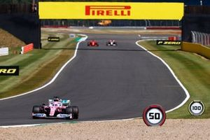Nico Hulkenberg, Racing Point RP20, Sebastian Vettel, Ferrari SF1000, and Romain Grosjean, Haas VF-20