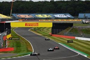 Antonio Giovinazzi, Alfa Romeo Racing C39, Charles Leclerc, Ferrari SF1000, George Russell, Williams FW43, and Romain Grosjean, Haas VF-20