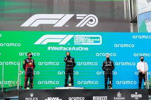 Max Verstappen, Red Bull Racing, Race winner Lewis Hamilton, Mercedes-AMG Petronas F1 and Valtteri Bottas, Mercedes-AMG Petronas F1 on the podium