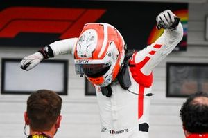 Race winner Luca Ghiotto, Hitech Grand Prix celebrates in Parc Ferme