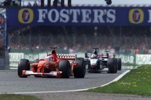 Rubens Barrichello, Ferrari F1-2000, David Coulthard, McLaren MP4/15 Mercedes, Mika Halkkinen, McLaren MP4/15 Mercedes, GP della Gran Bretagna del 2000