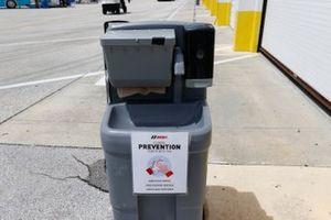 IMSA COVID prevention hand washing station, sign