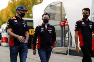 Max Verstappen, Red Bull Racing, Christian Horner, Team Principal, Red Bull Racing, and Alex Albon, Red Bull Racing