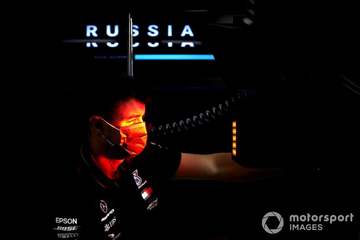 Mercedes engineer in garage