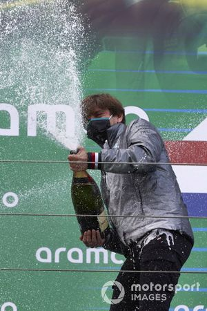 Steven Lord, Mercedes, sprays Champagne on the podium
