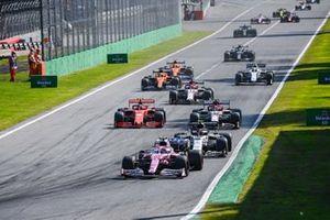 Lance Stroll, Racing Point RP20, Pierre Gasly, AlphaTauri AT01, Antonio Giovinazzi, Alfa Romeo Racing C39, and Charles Leclerc, Ferrari SF1000