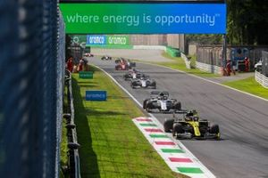 Esteban Ocon, Renault F1 Team R.S.20, Pierre Gasly, AlphaTauri AT01, Daniil Kvyat, AlphaTauri AT01, and Kimi Raikkonen, Alfa Romeo Racing C39